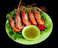 Grilled shrimps a taste of seafood  Stock Photography