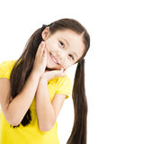 Sweet and smiling little girl isolated Stock Images