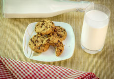 Sweet snack, cookies and milk Stock Photo