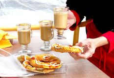 enjoy sweet danish pastry and coffee drink Stock Photography