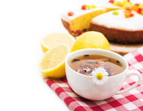 Sweet snack with tea and pie Stock Photos