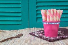 Sweet snacks on napkin,sweet backgrounds. Sweet snacks on napkin,sweet Stock Images