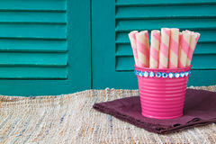 Sweet snacks on wooden backgrounds,sweets backgrounds Stock Photos