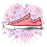 Sweet sneakers. Pink and cool. Sweet sneaker. Pink and cool. Beautiful drawings stock illustration