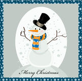 Sweet snowman greeting card Royalty Free Stock Photos