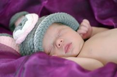 Sweet soft tenderness of innocent newborn baby sleeping royalty free stock photo