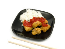Sweet and Sour Chicken. With white rice Royalty Free Stock Photo