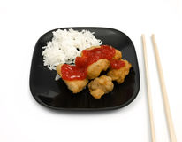Sweet and Sour Chicken. Meal on white background Stock Photo