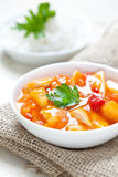 Sweet sour chicken. With fresh rice Stock Image