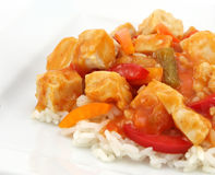 Sweet and sour chicken. Over the white background Royalty Free Stock Image