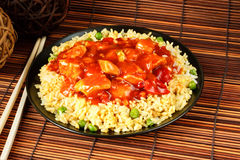 Sweet and sour chicken. With fried rice - popular chinese cuisine Stock Photography