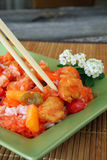 Sweet and Sour Chicken. With rice and vegetables Stock Photo