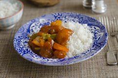 Sweet and sour chicken. With basmati rice Royalty Free Stock Image