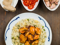 Sweet and Sour Chicken Chinese Food Stock Photo