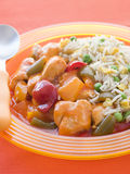 Sweet and Sour Chicken with Egg Fried Rice Stock Image