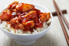 Sweet and Sour Chicken on Rice Royalty Free Stock Photography