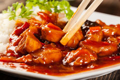 Sweet and sour chicken with rice Stock Photo