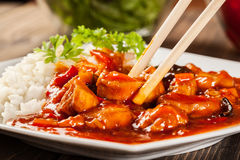 Sweet and sour chicken with rice Royalty Free Stock Photo