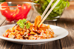 Sweet and sour chicken with rice Royalty Free Stock Image