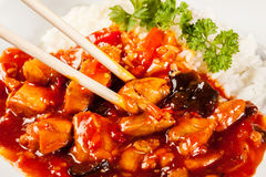 Sweet and sour chicken with rice Stock Photography