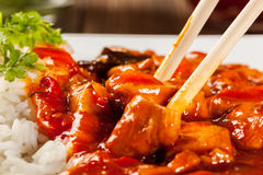 Sweet and sour chicken with rice Stock Image
