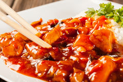 Sweet and sour chicken with rice Royalty Free Stock Images