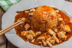 Sweet and sour chicken. Royalty Free Stock Image