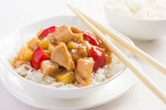 Sweet and sour chicken with rice Royalty Free Stock Photos