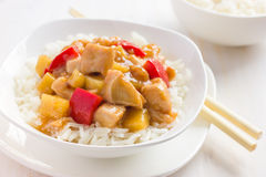 Sweet and sour chicken with rice Royalty Free Stock Photography