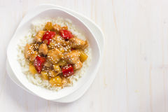 Sweet and sour chicken with rice Stock Images