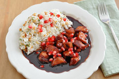 Sweet and sour cranberry chicken Royalty Free Stock Image