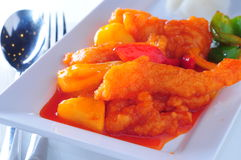 Sweet sour fish. Pineapple sweet sour fish fillet royalty free stock image