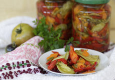 Sweet and sour homemade pickles. Delicious sweet and sour homemade pickles, made with fresh and healthy vegetables Stock Photo