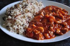 Sweet and sour main dish with mixed rice. Made from chicken and indian and wild rice Stock Images