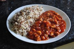 Sweet and sour main dish with mixed rice. Made from chicken and indian and wild rice Stock Photography