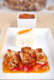 Sweet and sour meat on white rice Royalty Free Stock Images