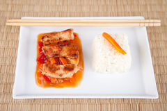Sweet and sour meat on white rice Royalty Free Stock Image