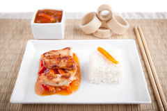Sweet and sour meat on white rice Stock Images