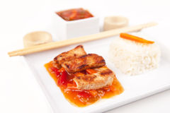 Sweet and sour meat on white rice Royalty Free Stock Photography