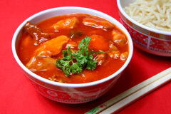 Sweet and Sour Pork. A tasty meal of sweet and sour pork with rice royalty free stock photography