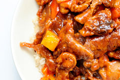 Sweet and sour pork a chinese take out food with pineapple Stock Photography