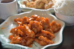 Sweet and sour pork dish. Deep Fried sweet and Sour pork Royalty Free Stock Photo