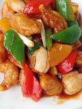 Sweet and sour pork with fruit salad Royalty Free Stock Images