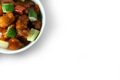Sweet and Sour Pork on Pure White Background Royalty Free Stock Photos