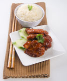 Sweet and sour pork with rice asian food Royalty Free Stock Photography