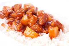 Sweet and sour pork on white rice Royalty Free Stock Photography