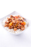 sweet and sour pork on white rice Royalty Free Stock Images