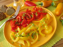 Sweet and sour salad with cooked pepper Royalty Free Stock Photography