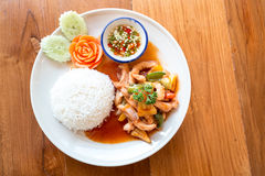 Sweet and sour sauce fried with pork served with rice stock photos