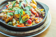 Sweet and sour sauce fried sea food with cashew nut Royalty Free Stock Photos